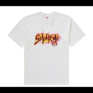 Supreme Scratch Tee White & Multicolor Graphic Tee